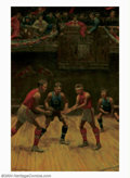 Original Illustration Art:Pulp, Pulp-like, Digests and Paperback Art, P. Schaeffer - Original Pulp Painting (1915-1920).. An earlybasketball illustration, probably a cover painting for a pulp-s...