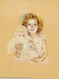 Charles Gates Sheldon (1889-1960) Original Magazine Cover Art (c.1935). Shirley Temple, probably Screenland or Photop