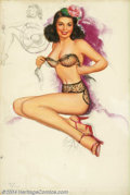 "Original Illustration Art:Pin-up and Glamour Art, T. N. Thompson - Original Pin-up Art (1954).. Appeared as ""July"" inthe 1954 calendar of the Studio Sketches calendar se...(Total: 4 items Item)"