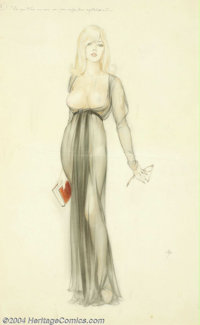 Alberto Vargas (1896-1982) Original Preliminary Illustration (c.1965). Fully finished final study for a Vargas girl, whi...