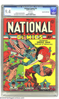 Golden Age (1938-1955):Superhero, National Comics #13 Mile High pedigree (Quality, 1941) CGC NM 9.4 White pages. Pow! Uncle Sam strikes with the impact of a w...