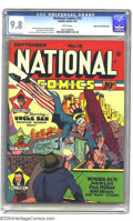 Golden Age (1938-1955):Superhero, National Comics #15 Mile High pedigree (Quality, 1941) CGC NM/MT 9.8 White pages. Uncle Sam puts the kibosh on a train-mount...