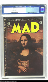 Mad #14 Gaines File pedigree 4/12 (EC, 1954) CGC NM 9.4 Off-white to white pages. Mad was the parody book that all imita...