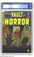 Golden Age (1938-1955):Horror, Vault of Horror #15 Gaines File pedigree (EC, 1950) CGC NM+ 9.6Off-white to white pages. This is a striking cover, from the...