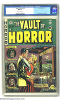 Golden Age (1938-1955):Horror, Vault of Horror #18 (EC, 1951) CGC NM 9.4 Off-white to white pages.A pair of eager lovers make a nighttime rendezvous at ye...