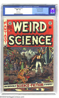 Golden Age (1938-1955):Science Fiction, Weird Science #13 Gaines File pedigree 10/12 (EC, 1952) CGC NM+ 9.6Off-white pages. A gorgeous Wally Wood cover highlights ...