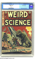 Golden Age (1938-1955):Science Fiction, Weird Science #15 Gaines File pedigree (EC, 1952) CGC NM+ 9.6 Whitepages. A classic Wally Wood dinosaur cover highlights th...