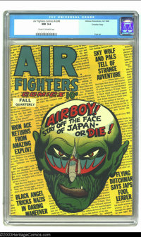 Air Fighters Comics Vol. 2, #8 Crowley pedigree (Hillman Fall, 1944) CGC NM 9.4 Cream to off-white pages. Airboy gets a...
