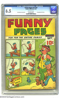 "Golden Age (1938-1955):Humor, Funny Pages V2#10 (Centaur, 1938) CGC FN+ 6.5 Off-white pages. Whether Gerber's ""rare"" or Overstreet's ""scarce"" is more accu..."