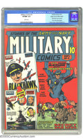 Golden Age (1938-1955):War, Military Comics #2 Mile High pedigree (Quality, 1941) CGC VF/NM 9.0White pages. In Blackhawk's second appearance, he gets a...