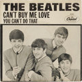 "Music Memorabilia:Recordings, Beatles ""Can't Buy Me Love""/""You Can't Do That"" 45 w/ PictureSleeve (Capitol 5150, 1964). The second and rarest picture sle..."