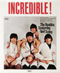 "Music Memorabilia:Posters, Beatles ""Butcher Cover"" In-Store Promotional Poster (Capitol,1966). The caption screams out ""Incredible!"" in huge red lette..."