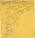"Music Memorabilia:Autographs and Signed Items, Beatles Autographs (3). A 4.5"" x 4"" autograph album page signed byJohn, Paul, and George in blue ink, with ""The Beatles"" ad..."