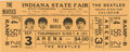 Music Memorabilia:Tickets, Beatles Indiana State Fair Concert Ticket. An unused ticket for the first of two shows on September 3, 1964 at the Indiana S...