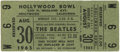 Music Memorabilia:Tickets, Beatles Hollywood Bowl Ticket 1965. One ticket from the Beatles'August 30, 1965 performance at the Hollywood Bowl. This con...
