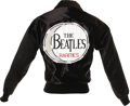 "Music Memorabilia:Costumes, Beatles ""Rarities"" Promo Jacket. A black satin jacket with a ""Beatles Rarities"" drum logo on the back, distributed by Capito..."