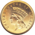Proof Three Dollar Gold Pieces: , 1883 $3 PR65 Ultra Cameo NGC. Regardless of the date, proof three dollar gold pieces are rare coins. Just 89 proofs were st...