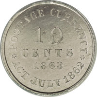 1863 10C Ten Cents, Judd-327, Pollock-397, High R.6, PR62 ANACS. The obverse depicts a Union shield pierced by two arrow...