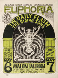 "Music Memorabilia:Posters, Daily Flash/Rising Sons ""Euphoria"" Avalon Ballroom Concert Poster, FD-7 (Family Dog, 1966). This early Family Dog event is o..."