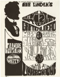 Music Memorabilia:Posters, Abe Lincoln's Birthday Party Fillmore Handbill (Bill Graham, 1967).A very tough to find handbill for a show put on by Bill ...
