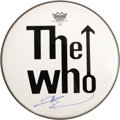 Music Memorabilia:Autographs and Signed Items, The Who Related - Pete Townsend Signed Drumhead. A 12.5 drumheadwith the Who band logo, signed by bassist Pete Townshend in...