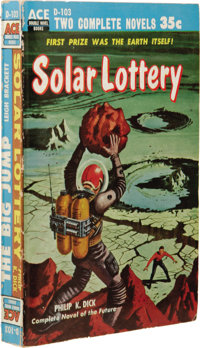 Philip K. Dick: Solar Lottery Signed Ace Double Paperback. (New York: Ace Books, 1955), first edition, 188 pages, il