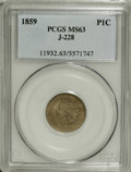 Patterns: , 1859 P1C Indian Cent, Judd-228, Pollock-272, R.1, MS63 PCGS. A transitional pattern with the obverse of 1859 paired with th...