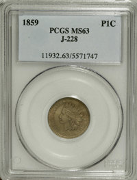 1859 P1C Indian Cent, Judd-228, Pollock-272, R.1, MS63 PCGS. A transitional pattern with the obverse of 1859 paired with...