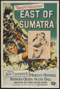 "Movie Posters:Adventure, East of Sumatra (Universal, 1953). One Sheet (27"" X 41"").Adventure. Starring Jeff Chandler, Marilyn Maxwell, Anthony Quinn..."