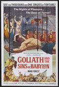 "Movie Posters:Adventure, Goliath and the Sins of Babylon (American International, 1964). OneSheet (27"" X 41""). Adventure. Starring Mark Forest, Jose..."