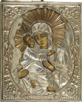 Decorative Arts, Continental:Other , ICON OF A SAINT. Russian icon of a saint, on wood panel with okladand champleve enamel decoration. 7-1/8in. x 5-3/4in.. ...