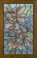 Decorative Arts, Continental:Other , GLASS WINDOW PANEL. Modern leaded glass window panel with floraldesign. 27in. x 17in.. ...