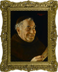 Fine Art - Painting, European:Modern  (1900 1949)  , ERWIN EICHINGER (Austrian, 1892-1950). Smiling FranciscanMonk. Oil on masonite. Signed to upper right. 10.5in. x 8in.....