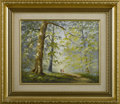 Fine Art - Painting, European:Other , GEORGE HORNE (English). Bluebell Wood, New Forest,Hampshire. Oil on canvas. Signed to lower right, labeled withartist ...