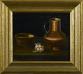 SPANISH SCHOOL Pair of decorative still lifes Oil on masonite Each signed to lower left G.V. Each 5-1/4in. x 6in