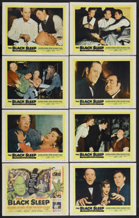 "The Black Sleep (United Artists, 1956). Lobby Card Set of 8 (11"" X 14""). Horror. Starring Basil Rathbone, Akim..."