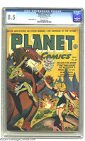 """Golden Age (1938-1955):Science Fiction, Planet Comics #27 (Fiction House, 1943) CGC VF+ 8.5 Off-whitepages. It looks like the """"Fire-Eaters of Asteroid Z"""" have got ..."""