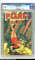 Golden Age (1938-1955):Science Fiction, Planet Comics #53 (Fiction House, 1948) CGC FN/VF 7.0 Off-white towhite pages. Here's one of the leggiest of all bondage co...