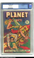 Golden Age (1938-1955):Science Fiction, Planet Comics #58 Rockford pedigree (Fiction House, 1949) CGC VF- 7.5 Cream to off-white pages. A mis-cut cover keeps this c...