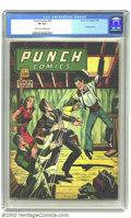 "Golden Age (1938-1955):Crime, Punch Comics #18 (Chesler, 1946) CGC VF 8.0. Grandstanding Golden Age publisher Harry ""A"" Chesler blurbed his periodicals as..."