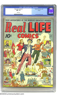 Real Life Comics #1 Denver pedigree (Nedor Publications, 1941) CGC NM- 9.2 White pages. Think you'll find a nicer copy o...