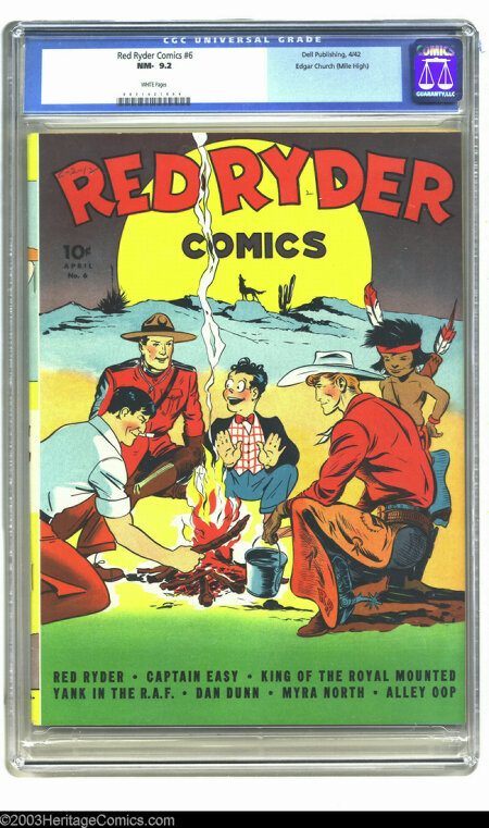 Red Ryder Comics #6 Edgar Church (Mile High) pedigree (Dell, 1942). CGC NM 9.4 White pages. Fred Harman delivers a stylish c...