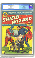 Golden Age (1938-1955):Superhero, Shield-Wizard Comics #1 Denver pedigree (MLJ, 1940) CGC NM- 9.2 Off-white pages. This blockbuster issue features the origin ...