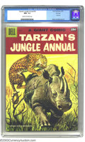Silver Age (1956-1969):Adventure, Tarzan's Jungle Annual #6 File Copy (Dell, 1957) CGC NM+ 9.6 Cream to off-white pages. This Dell Giant featured two of the m...