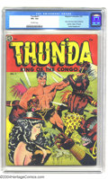 Golden Age (1938-1955):Adventure, Thun'da #1 (Magazine Enterprises, 1952) CGC VF+ 8.5 Off-white pages. Revered as the only comic book to be entirely drawn, co...