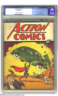 Action Comics #1 (DC, 1938) CGC VG- 3.5 Cream to off-white pages. Featuring the introduction of Superman, this book sing...