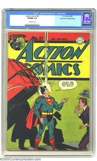 Action Comics #87 Mile High pedigree (DC, 1945) CGC VF/NM 9.0 Off-white pages. Hey, look -- Superman thinks it's raining...