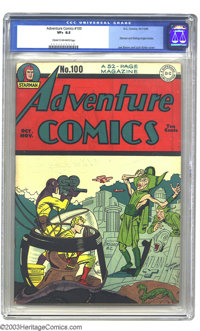 Adventure Comics #100 (DC, 1945) CGC VF+ 8.5 Cream to off-white pages. A milestone 100th issue. Sandman travels back to...