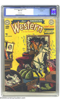 Golden Age (1938-1955):Western, All-American Western #108 Hawkeye pedigree (DC, 1949) CGC NM 9.4Off-white pages. Alex Toth did some incredible artwork for ...