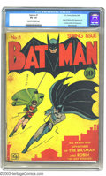 Golden Age (1938-1955):Superhero, Batman #1 (DC, 1940) CGC VG 4.0 Cream to off-white pages. Not only does this historic issue feature the origin of Batman, bu...